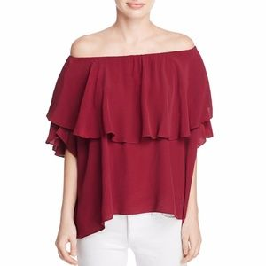 MLM Womens Maison Off-The-Shoulder Ruffled Blouse